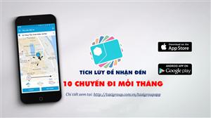 Đặt xe - tích lũy - nhận đến 10 chuyến taxi miễn phí mỗi tháng